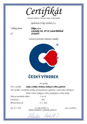 Certifikát Český výrobek