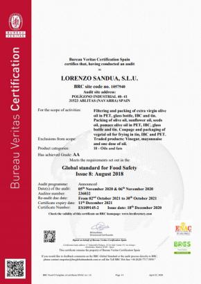 Certifikát o kvalitě oleje